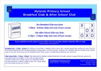 Breakfast club & after school club Advert 2019